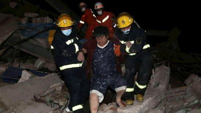 FOUR DEAD IN COLLAPSE OF CHINESE HOTEL USED FOR CORONAVIRUS CONTROL